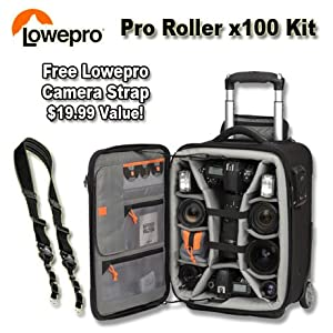 Lowepro Pro Roller x100 Camera Bag (Black) Bundle with Lowepro Speedster Camera Strap