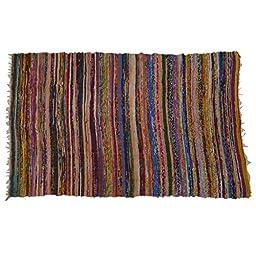 Hand Woven Mat Throw Dari Handmade Recycled Cotton Indian Chindi Rugs 68\