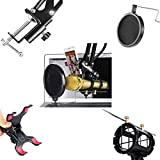 Elongdi-Microphone-Phone-Holder-Kit-360Adjustable-Professional-Recording-Microphone-Suspension-Boom-Scissor-Arm-Stand-with-Pop-Filter-Mask-Shield-for-Internet-Karaoke-Phone-Karaoke-MV-Black