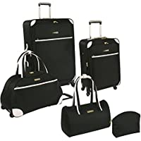 Ninewest Round Trip 5 Piece Luggage Set (Black/White)