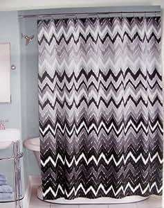"Peri Shower Curtain Fabric Hedges Chevron Design in Black Grey White 72"" X 72"""