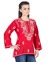 YAK International Cotton Red Round Neck Kurti For Women - B00UAAVQNA