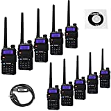 10 Pack BaoFeng UV-5RTP Tri-Power 8/4/1W Two Way Radio (Upgraded Version of UV-5R), Dual Band 136-174/400-520MHz True 8W High Power +1 Programming Cable (Color: Black)