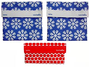 LunchSkins Reusable Sandwich and Snack Bags Set - 3 Pack - 2 Snowflake, Red Dots