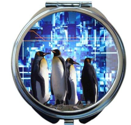 Rikki Knighttm Penguins On Electric Blue Design Round Compact Mirror