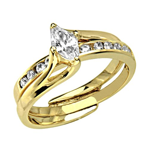 14K Yellow Gold Solitaire Marquise-cut CZ Cubic Zirconia with Side-stone High Polish Finish Ladies Wedding Engagement Ring and Matching Band 2 Two Piece Sets (Size 4 to 9) - Size 4.5