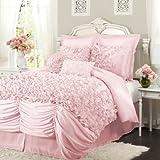 Lush Decor Lucia 4-Piece Comforter Set, California King, Pink