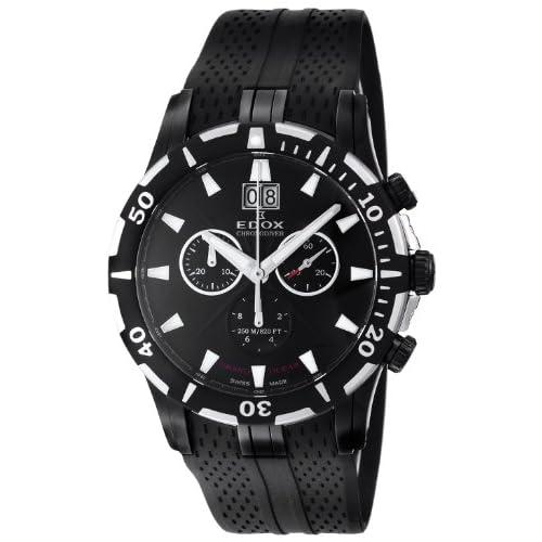 [エドックス]EDOX 腕時計 グランドオーシャン クロノダイバー ブラック文字盤 ラバーベルト 25気圧防水 10022-37N-NIN メンズ 【並行輸入品】