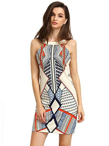 ROMWE-Womens-Cutaway-Sleeveless-Geometric-Print-Party-Dress