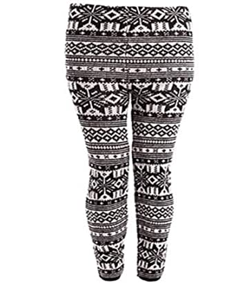 Winter Snowflake Print Womens Thick Knitted Fairisle Leggings Footless Tights Black Size 12