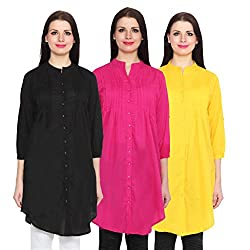 NumBrave Black, Magenta & Yellow Long Cotton Top (Pack of 3)