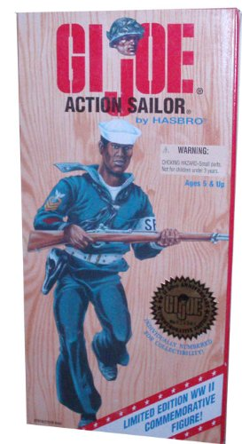 Buy Low Price Hasbro G.I. Joe 1996 Limited Edition World War II 50th Anniversary Commemorative Series with Individually Numbered 12 Inch Tall Soldier Action Figure – Action Sailor with Sailor Uniform, Belt with Holster and Pistol, Duffel Bag, Sailor Cap, Dog Tag, and Rifle (African American Version) (B002RUY8EU)