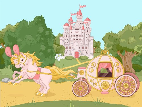 Nursery Landscape Horses Carriage Fairy Tale Castle Kids Bedroom 12 X 16 Inch Poster Mp4286B