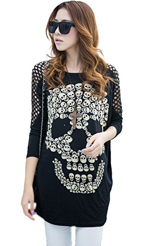 Dillian Womenss Hollow Out Long Sleeves Skull Print Tops Black (One Direction Larry Shirt compare prices)