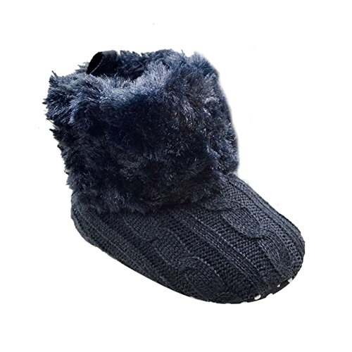 Weixinbuy Baby Girls Knit Soft Fur Winter Warm Snow Boots Crib Shoes (L(12-18 Months), Black) front-37830