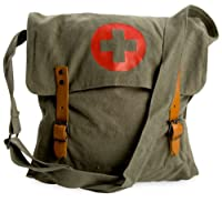 Khaki Green Vintage Look Army Red Cross Medic Shoulder Messenger Bag by ROTHCO