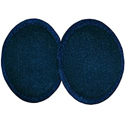 Ear Mitts Dark Blue Cotton Denim Bandless Ear Muffs, One Fits Most