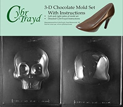 Cybrtrayd H166AB Large 3D Skull Chocolate Candy Mold Bundle with 2 Molds and Exclusive Cybrtrayd Copyrighted 3D Chocolate Molding Instructions