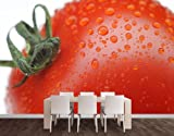 WTD Fleece Wall Mural No.281 Cherry Tomato I Wallpaper, Fleece Mural, Vegetables, Tomatoes, Fruits, Kitchen, Food - Size: L - 145x97cm - 1 part
