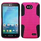 HOT PINK / BLACK Mesh Silicone Skin + Rubber Case for LG Optimus L90 D415 |In Twisted Tech Packaging|