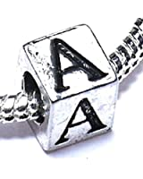 Silver Plated Letter A Alphabet Initial Ladies Girls Charm Bead Fits Pandora Bracelets Jewellery