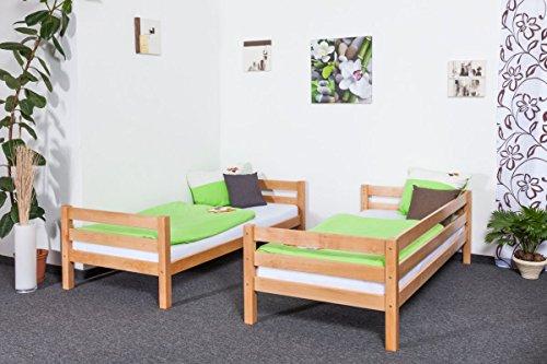 Lit superposé / Lit de jeu Moritz en hêtre massif naturel, sommier à lattes déroulable inclus - 90 x 200 cm