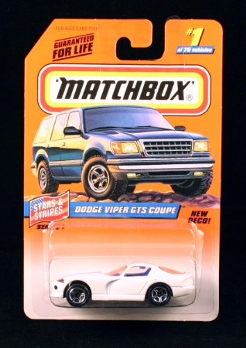 DODGE VIPER GTS COUPE * WHITE * Stars & Stripes Series 1 MATCHBOX 1998 Basic Die-Cast Vehicle (#1 of 75) - 1