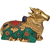 Exotic India Inlay Nandi - Brass Statue With Inlay
