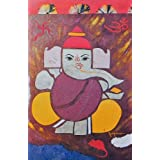 "Dolls Of India ""Ganesha With Om And Swastik"" Reprint On Paper - Unframed (43.18 X 27.94 Centimeters)"
