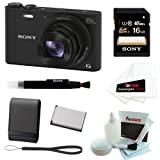 Sony DSC-WX350/B DSCWX350 WX350 18 MP Digital Camera (Black) + Sony 16GB SDHCMemory Card + Camera Case + Replacement NP-BX1 Battery + Accessory Kit