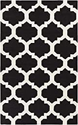 Black Rug Contemporary Design 5-Foot x 8-Foot Hand-Made Trellis Flatwoven Carpet