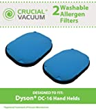 2 Dyson DC16 Washable & Reusable Filters, Designed To Fit All Dyson DC16 Hand-held Vacuums, Compare To Dyson Part # 912153-01, Designed & Engineered By Crucial Vacuum