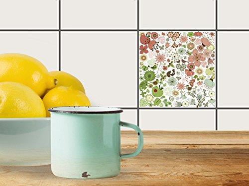 carrelage autocollant 20 x 15 cm 1 x 1 design flower pattern graphique illustration film. Black Bedroom Furniture Sets. Home Design Ideas