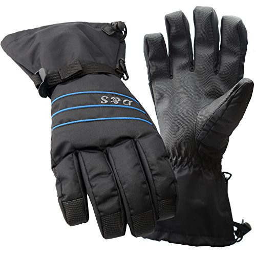 D&S Ski Gloves Men - Waterproof Warm Adult Cold Weather Winter Glove - Full Finger Gear - Perfect for Windproof,Snow,Snowboard,Snowmobile,Skiing,Snowboarding - Insert HIPOTEX Waterproof Bag (Black XL)
