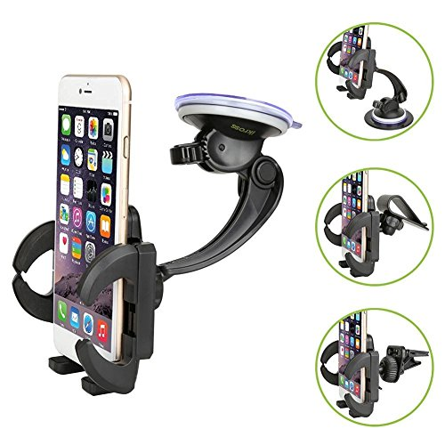 Smartphone Car Mount Holder, iKross 4-in-1 Universal Windshield / Dashboard / Sun Visor / Air Vent Car Mount Cradle Holder Kit - Black (Galaxy Core Advance compare prices)