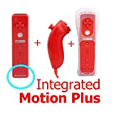 SHINNTTO(TM) 2 in 1 Motion Plus Built In WII Nintendo Remote Controller and Nunchuck + Silicone Case + Wrist Strap-Red