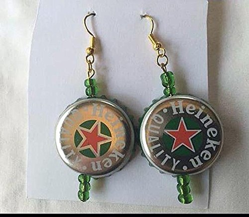 heineken-silver-red-star-green-and-green-bead-upcycled-bottlecap-earrings