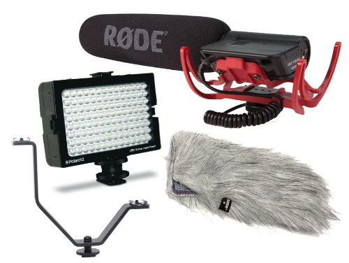 Rode Condenser Shotgun Video Mic With Rycote And Rode Deadcat Wind Sheild With Polaroid 54 Led Lights Panel And 2 Shoe Mount Bracket