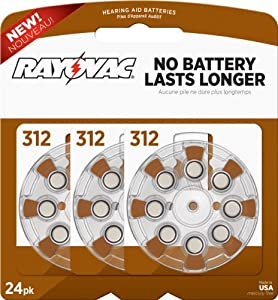 Rayovac L312ZA-24ZM Mercury Free Hearing Aid Batteries - Size 312, 24 Count Package