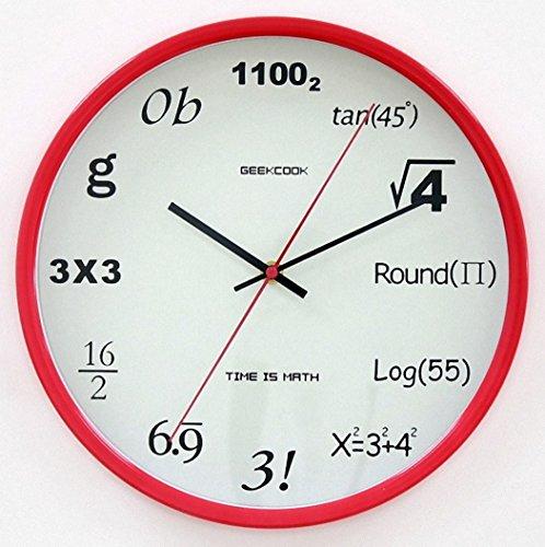 理系はおもわず欲しくなる!? 直径30cm 壁掛け 数式時計 リビングルーム 教室など ポップクイズクロック 【AG Logistics】 (レッド)