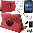 AceNear Accessory Bundle For ASUS Transformer Pad TF300 10.1-Inch Tablet - New 360 Degress Rotating Stand Leather Folio Case Cover , Headset Dust Plug Capacitive Stylus, Screen Protector, USB Cable, Charger, Earphone, bag, Car Charger Adapter - red