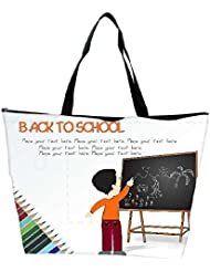 Snoogg Cute Boy Standing In Front Of Blackboard Waterproof Bag Made Of High Strength Nylon