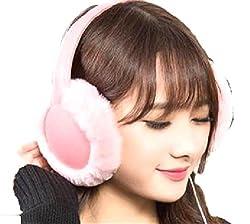 イヤーマフ ミュージック ふわふわ ヘッドフォン 機能付き 耳あて あたたか 防寒 レディース (02:ピンク)…