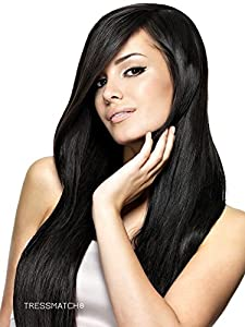 "TRESSMATCH® 20""-21"" Clip in Remy(remi) Human Hair Extensions Thick to Ends Off Black (Color #1b) 9 Pieces(pcs) Full Head Set [set weight: 4.2oz(120grams]"