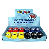"""12 Pcs In Box: 4"""" 1967 Volkswagen Beetle, Pull Back Action (Black/Blue/Red/Yellow)"""