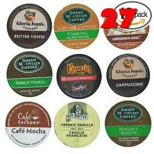 27 Pack - Limited Edition Fall Flavors Coffee Variety Pack of K-Cups for Keurig Brewers - Pumpkin Spice, Butter Toffee, Cinnamon, French Vanilla, Mocha, Cappuccino and Hazelnut flavored- from Timothy's, Gloria Jeans, Donut House Collection, Van Houtte