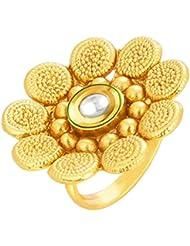 Sukkhi Beguiling Designer Traditional Cocktail Jalebi Gold Plated Kundan Finger Ring For Women
