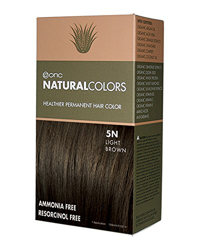 ONC Natural Colors Healthier Permanent Hair Color - 120ml (4oz) | Premium Salon Quality - Free of Ammonia, Resorcinol, Parabens and Nonoxynol (5N LIGHT BROWN) (Natural Hair Dye compare prices)