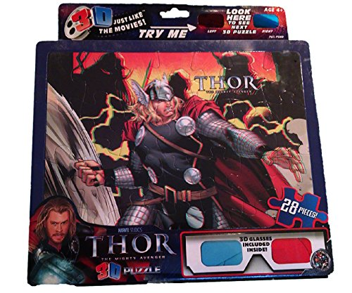 "Marvel 28 piece 3D Puzzle: ""Thor the Mighty Avenger"" 3D glasses included - 1"