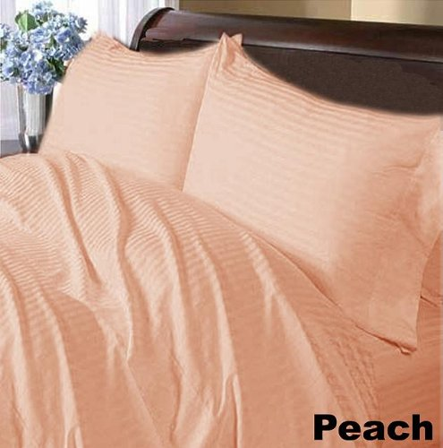300THREADS Egyptian Cotton 5pc Bed Sheet Set Includes Duvet Cover Peach  Stripe Factory Sealed Expanded Queen
